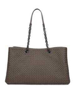 Bottega Veneta Grey Intrecciato Double Chain Tote Bag