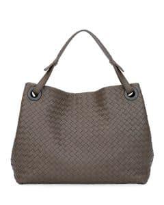 Bottega Veneta Grey Intrecciato Medium Shoulder Bag