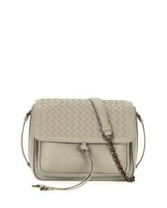 Bottega Veneta Light Grey Intrecciato Tie-Front Flap Bag