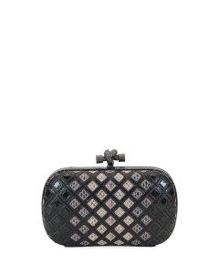 Bottega Veneta Light Grey Snakeskin Knot Clutch Bag