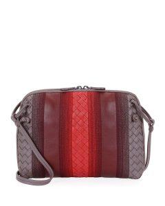 Bottega Veneta Light Purple Striped Messenger Bag