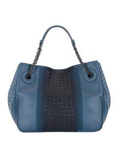 Bottega Veneta Medium Blue Intrecciato Double Chain Tote Bag