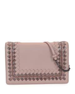 Bottega Veneta Medium Pink Leather with Snakeskin Trim Shoulder Bag