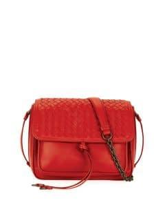 Bottega Veneta Red Intrecciato Tie-Front Flap Bag