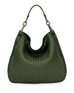 Bottega Veneta Sage Intrecciato Shoulder Bag