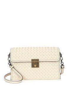Bottega Veneta White Intrecciato Padlock Shoulder Bag