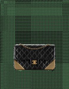 Chanel Black Calfskin with Gold-Tone Metal Medium Flap Bag