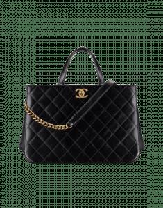 Chanel Black Calfskin/Iridescent Calfskin Small Shopping Bag