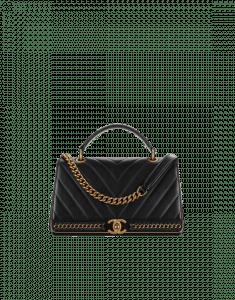Chanel Black Chevron Lambskin Flap Bag with Top Handle