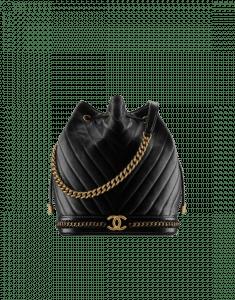 Chanel Black Lambskin Drawstring Bag
