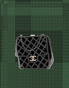 Chanel Black Resin/Strass/Pearls Evening Bag