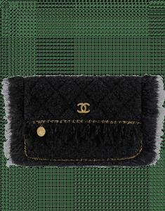 Chanel Black Tweed Clutch Bag