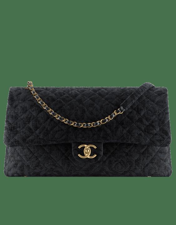 Chanel Black Velvet Classic L Flap Bag