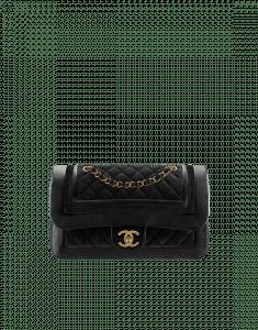 Chanel Black Velvet/Metallic Lambskin Flap Bag