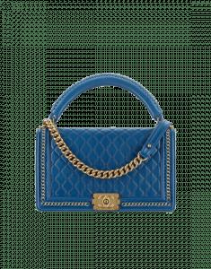 Chanel Blue Calfskin Boy Chanel Handle New Medium Flap Bag