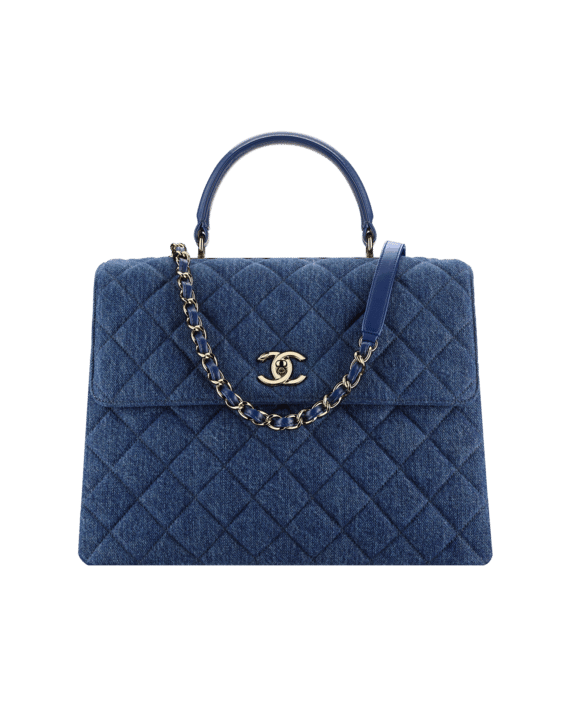 Chanel Blue Denim Trendy Cc Large Top Handle Bag