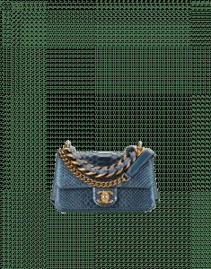 Chanel Blue Python/Lambskin Mini Flap Bag