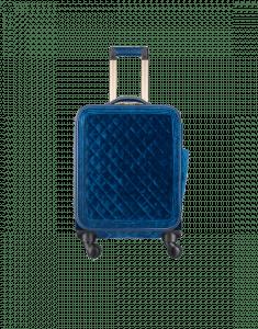 Chanel Blue Velvet/Calfskin Coco Case Trolley Bag