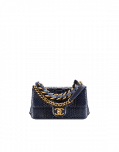Chanel Blue/Black Python/Lambskin Mini Flap Bag