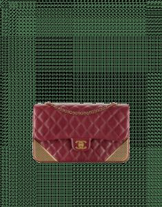 Chanel Burgundy Calfskin with Gold-Tone Metal Medium Flap Bag