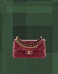 Chanel Burgundy Calfskin/Iridescent Calfskin Small Flap Bag