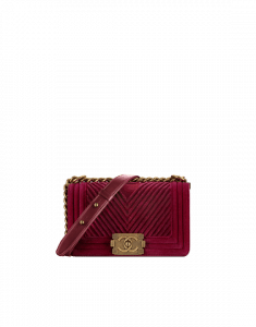 Chanel Burgundy Chevron Velvet Boy Chanel Small Flap Bag