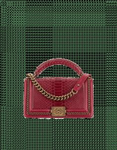 Chanel Burgundy Python Boy Chanel Handle Old Medium Flap Bag