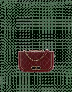Chanel Burgundy/Black Lambskin/Metallic Calfskin Flap Bag