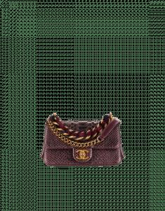Chanel Burgundy/Black Python/Lambskin Mini Flap Bag