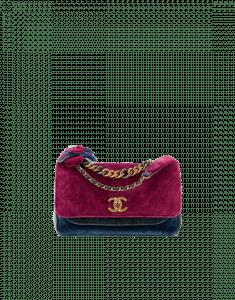 Chanel Burgundy/Charcoal/Navy Blue Velvet Medium Flap Bag