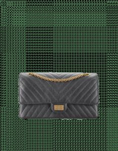 Chanel Charcoal Chevron Metallic Calfskin 2.55 Reissue Size 226 Bag
