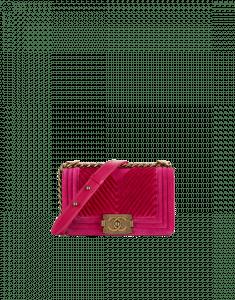 Chanel Fuchsia Chevron Velvet Boy Chanel Small Flap Bag