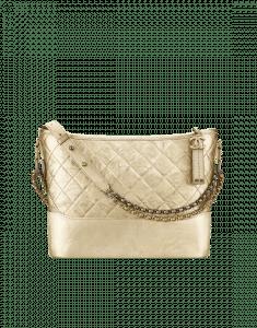 Chanel Gold Metallic Crumpled Calfskin Gabrielle Hobo Bag