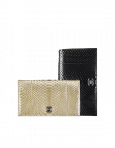 Chanel Gold and Black Python/Calfskin Clutch Bags