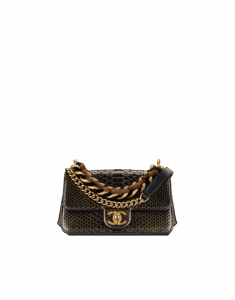 Chanel Gold/Black Python/Lambskin Mini Flap Bag