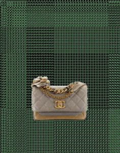 Chanel Gold/Silver/Gray Metallic Lambskin Flap Bag