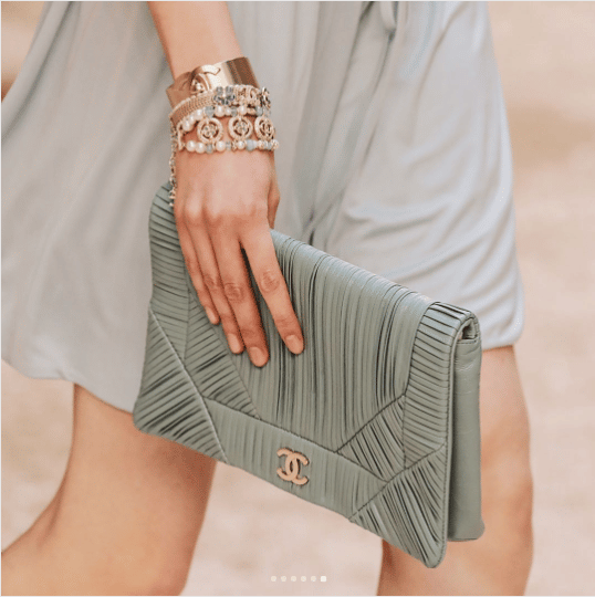 caf2893e21c6 Chanel Gray Clutch Bag - Cruise 2018. IG  elletaiwan