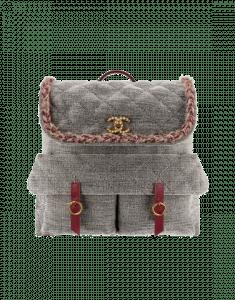 Chanel Gray Velvet/Wool/Calfskin Parisian Stroll Backpack Bag
