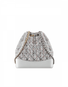 Chanel Gray/Pink Tweed/Calfskin Gabrielle Backpack Bag