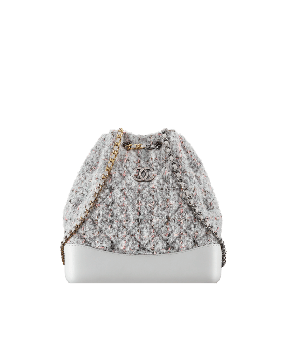 Chanel Gray Pink Tweed Calfskin Gabrielle Backpack Bag 1dc6ceca4f710