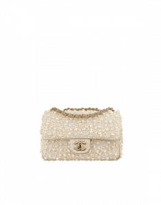Chanel Ivory Pearl Embroidered Mini Flap Bag