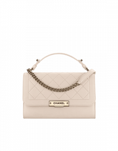 Chanel Light Beige Label Click Medium Flap Bag