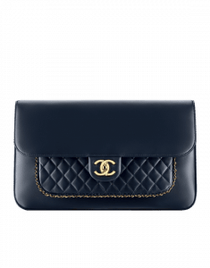 Chanel Navy Blue CC Unchained Clutch Bag