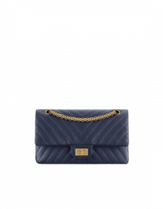 Chanel Navy Blue Chevron 2.55 Reissue Size 225 Bag