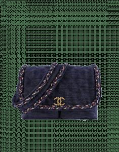 Chanel Navy Blue Velvet/Wool/Calfskin Parisian Stroll Messenger Bag
