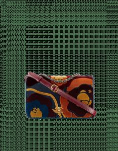 Chanel Navy Blue/Burgundy Embroidered Velvet/Lambskin Flap Bag