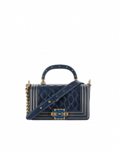 Chanel Navy Blue/Gold Lambskin/Resin Boy Chanel Handle Small Flap Bag