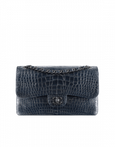 Chanel Navy Blue/Silver Alligator Classic Jumbo Flap Bag