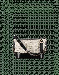 Chanel Off-White/Black Tweed/Calfskin Gabrielle Small Hobo Bag