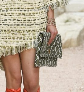 Chanel Olive Green Patterned Clutch Bag - Cruise 2018